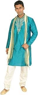 Teal Men Kurta Set Sherwani Indian Wedding Wear