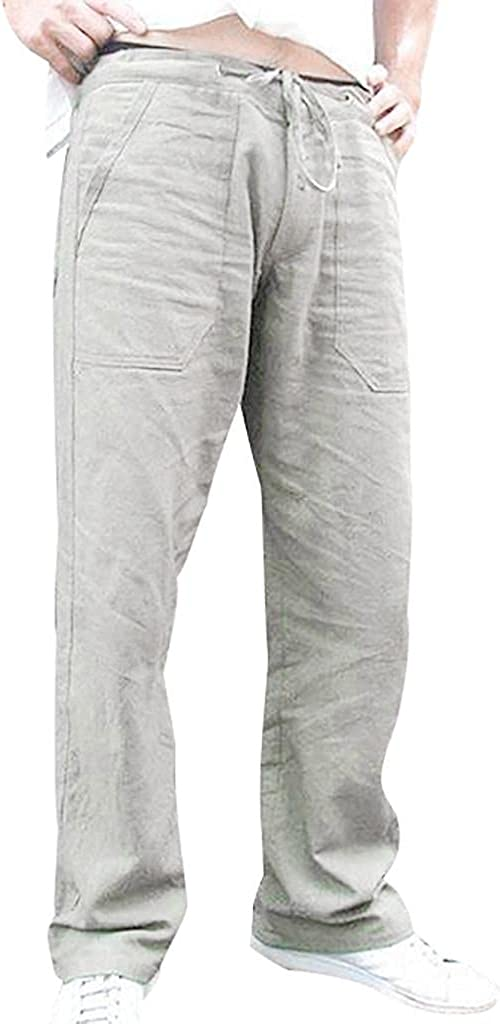 Beshion Sweatpants for Men Casual Linen Pants Loose Lightweight Track Pants Yoga Workout Trouser Pants Pocket