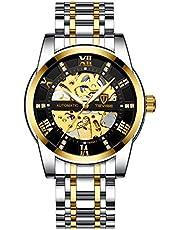 腕時計、メンズ腕時計 機械式 スケルトン ファッション カジュアル ステンレススチール ウォッチ 高級 防水 自動 自動巻き ルミナス ダイヤモンド ローマ数字 ダイヤル 時計