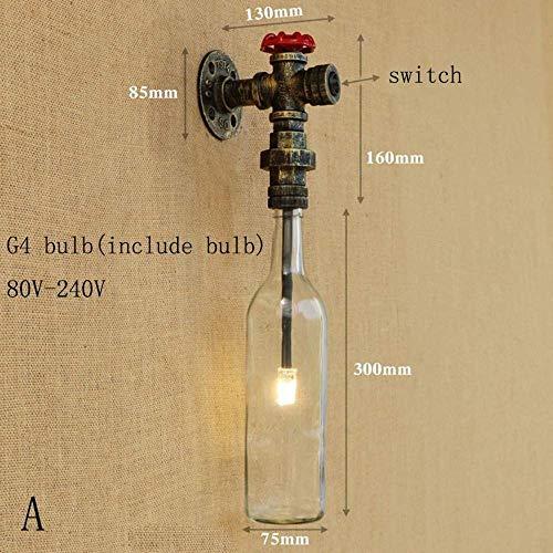 Meixian Wandlamp, industriële glazen kap, led-badkamer, met G4 licht, slaapkamer, bedlampje, foyer werkkamer, decoratie D eenvoudig retro