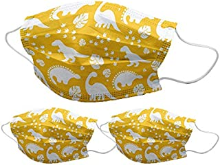 Bon Organik Cotton Dinosaur Printed Protective Masks for Kids (Yellow, Set of 3)