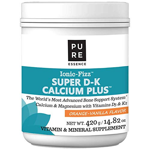 Pure Essence Ionic Super D-K Calcium Plus by Pure Essence - With Extra Magnesium, Vitamin D3, Vitamin K2 For Strong Bones and Stress Relief - Orange Vanilla - 14.82oz