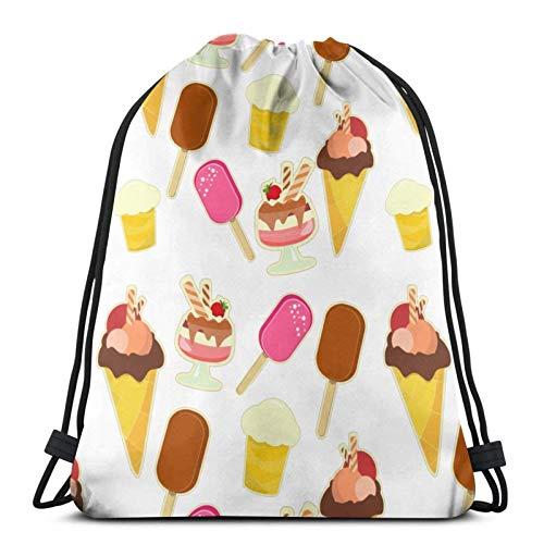 Lsjuee Summer Ice CreamDrawstring Backpack Sports Fitness Backpack Waterproof Men's and Women's Waist Bag Travel Yoga Beach School