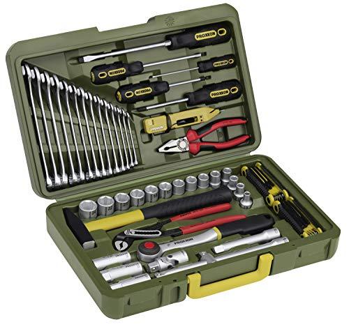 PROXXON PKW- und Universalwerkzeugkoffer, 47-teiliges Werkzeug-Set, Mit Hammer, Knipex-Zangen, Ratsche und Steckschlüsseleinsätze, 23650
