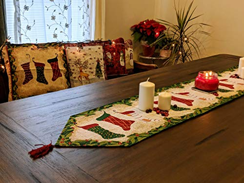 Tache Home Fashion Hang My Stockings by The Fireplace Christmas Holiday Festive Woven Decorative Tapestry Table Runners, 13x72