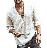 Camisas de canalé con Cordones y Cuello en V para Hombres Camisa de Manga Media Jacobite Ghillie Retro