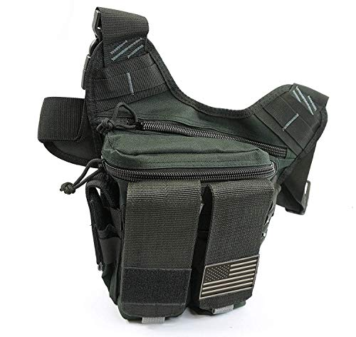 NiceAndGreat Tactical Bag Rapid Outdoor Range Sling Pack for Handguns and Pistols Quality Chest Pack Holster Included (Black)