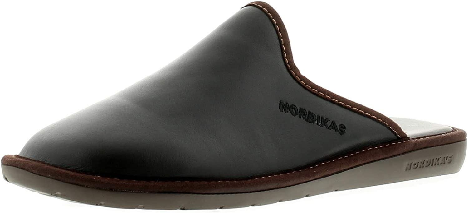 Nordikas 131 Leather (Ohio) Mens Other Leather Material Mule Slippers Black
