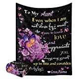 XOZOTY to My Aunt Blanket with Name Text Custom Personalized Super Soft Fleece Throw Blankets for Couch Sofa Bed 50 X 60 inches