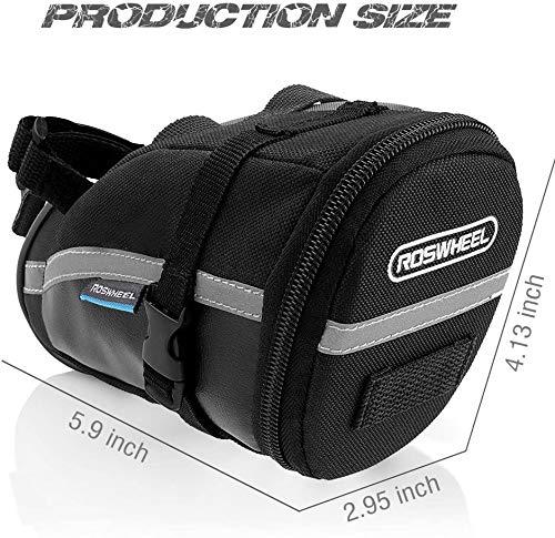 iKALULA Fahrrad Satteltasche, Kompakte Wasserdichte Rahmentasche Fahrradtasche Oberrohrtasche Aero Wedge Pack Mountainbike Bag für Mountainbikes, Fahrräder, und Rennräder – Schwarz - 4