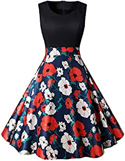LONGYING Women's Summer Casual Contrast Sleeveless Tank Top Dress Floral Printed Flared Swing Midi Dress