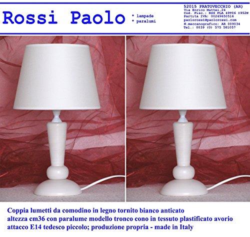Paolo Rossi Coppia lampada lumetto da comodino abat...