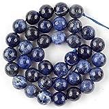 Cara del tigre redondo natural Tiger Tiger Eye Turquetes Jaspes Spacer Pied Stone Beads para la bracela Fabricación de joyas-Sodalita azul_8mm 45 a 46pcs