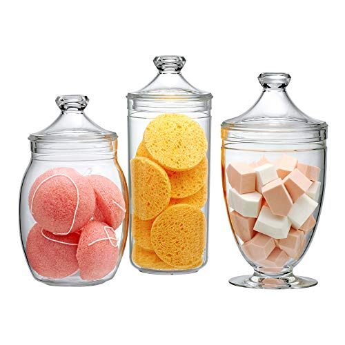 Amazing Abby Acrylic Apothecary Jar Set (3-Piece Set), Vanity Organizer, Bathroom Storage, Decorative Canisters, Candy Buffet Display, BPA-Free and Shatter-Proof