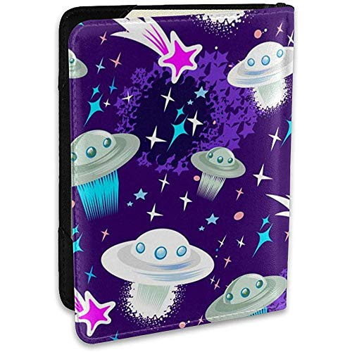 Flying Saucers and Black Leder-Passhülle Cute Passport Cover Wallet