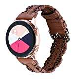 Glebo Compatible with Samsung Active 2 Watch Band 40mm 44mm/Galaxy Watch 3 Band 41mm/Active 40mm/Galaxy Watch 42mm/Vivoactive 3, 20mm Watch Band Leather Strap Wristbands for Women Men, Brown