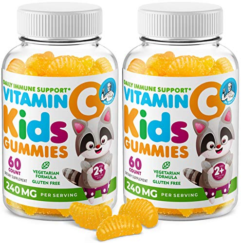 Vitamin C Gummies for Kids & Adults 240 mg - Immune Support Low-Sugar Chewable Gummy Vitamins for Toddlers - Vegetarian Gelatin-Free Children's Dietary Supplement (Citrus Flavor) (120 Count)