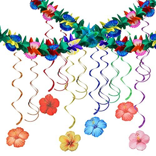 CHALA 13pcs Hawaii Decoración Flores Espiral Guirnaldas Hibiscus Decoración de Verano Tiki Bar Decoración Colgante Aloha Colgador de Techo Tropical Hawaiian Foil Espirales para Playa