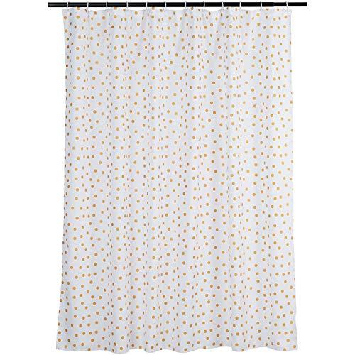 Amazon Basics Bathroom Shower Curtain - Gold Polka Dot, 72 Inch