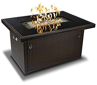 Outland Fire Pit Table - Propane Gas with Auto Ignition - Tempered Glass Table Top - Arctic Ice Glass Rocks - Weather Resistant Wicker Panels - Outdoor Firepit Table Perfect for Patio, Deck, Backyard