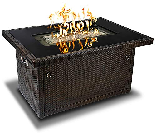 Outland Living 401 Series - 44-Inch Outdoor Propane Gas Fire Table, Espresso Brown/Rectangle