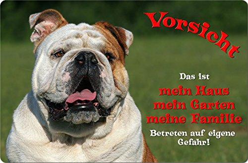 +++ Englische BULLDOGGE - Metall WARNSCHILD Schild Hundeschild Sign - EBD 03 T1