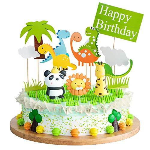 Tier-Tortenaufsatz Joyoldelf 14-teilig Tortendeko mit Polymer-Clay Löwe Giraffe Panda für Kindergeburtstag Party Supplies
