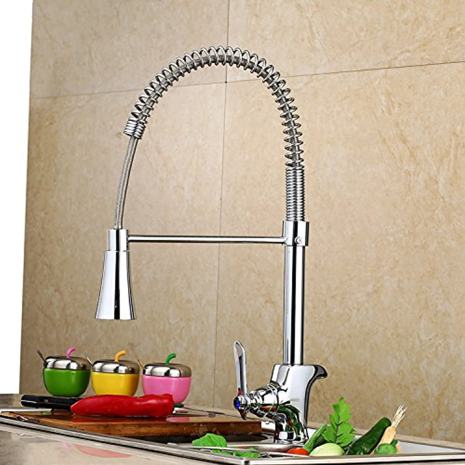 Bathroom Sink Basin Lever Mixer Tap Pumping Faucet Sanitary Ware Cold and Hot Mixed Water Kitchen Single Chromium Plating