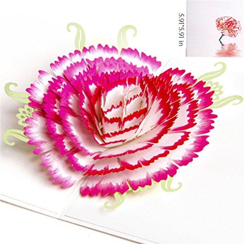 VALICLUD Chic Up Flower Muttertagskarten 3D-Nelkengrußkarten Bester Wunsch für den Muttertag