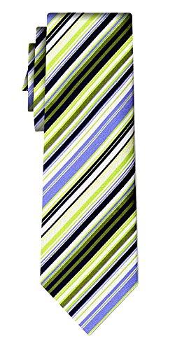 Cravate soie rayée fine stripe green white blue