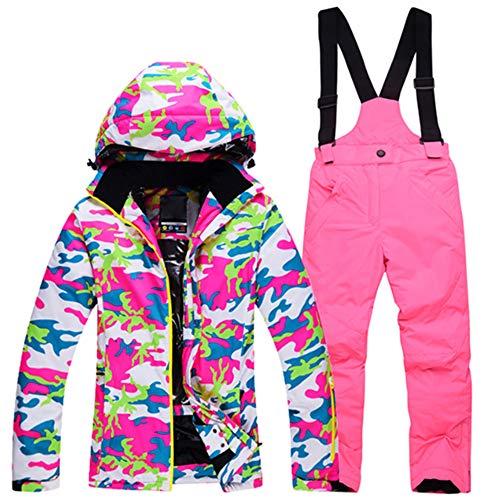 PLAER Mädchen Skijacke und Hose, warm, dick, winddicht, wasserdicht, Kinder, Stil 12 - Ski-Set, Height 130-140CM