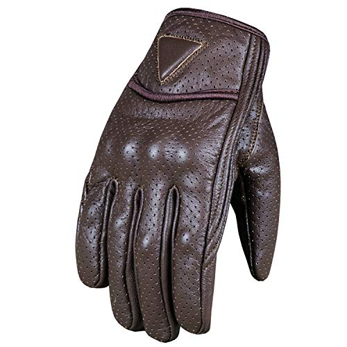 Men's Premium Motorcycle Leather Perforated Cruiser Safety Gel Brown Gloves XL