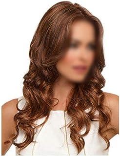 HOHYLLYA セクシーな女性フルウィッグカーリーミディアムブラウンヘアーふわふわウィッグナチュラルカラーデイリードレスパーティーウィッグ (色 : ブラウン, サイズ : 60cm)