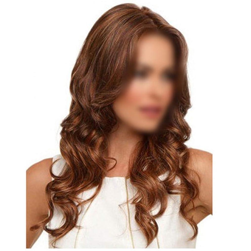 フィヨルド桁地球YESONEEP セクシーな女性フルウィッグカーリーミディアムブラウンヘアーふわふわウィッグナチュラルカラーデイリードレスパーティーウィッグ (色 : ブラウン, サイズ : 60cm)