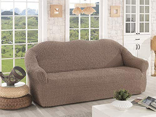 My Palace Verdiana - Funda de sofá de 2 plazas, antideslizante, elástica, de spandex, 120 – 190 cm, color marrón ocre