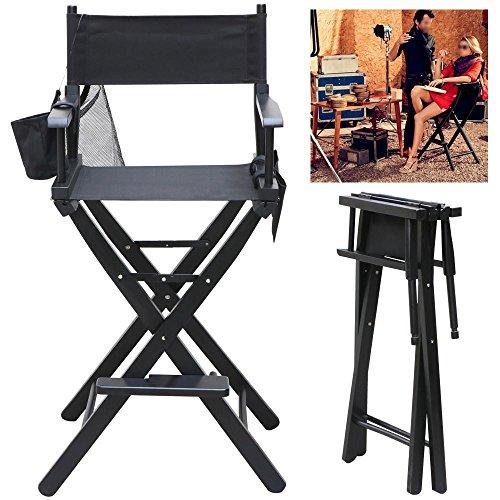 Popamazing 1x Black Professional makeup artist sedia regista legno pieghevole impermeabile leggero con braccioli campeggio pesca Garden W/borse laterali