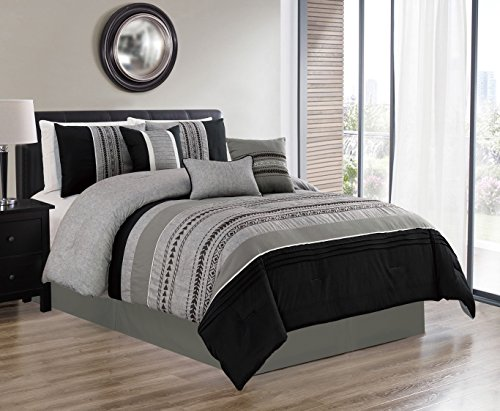JBFF 7 Piece Oversized Luxury Embroidery Bed in Bag Microfiber Comforter Set (Black, King)