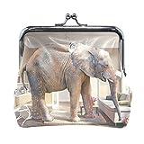 LIANCHENYI - Monedero para Mujer con diseño de Elefante Grande y la Cesta de Manzanas