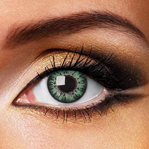 Partylens Farblinsen - Glossy Green - weiche Kontaktlinsen - Jahreslinsen mit Kontaktlinsenbehälter Jahreslinsen, Grün, / BC 8.6 mm / DIA 14.5 mm / 0 Dioptrien