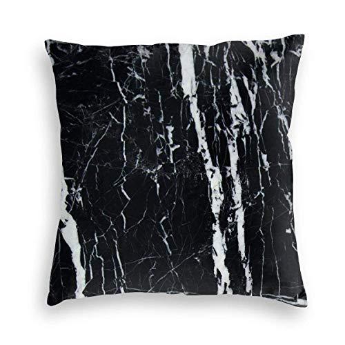 XCNGG Funda de Almohada, Funda de cojín para Silla, Funda de cojín para Coche Black and White Marble Velvet Soft Stained Square Pillowcase, Sofa Bedroom Car Cushion Cover 8 X 18 Inches 45 X 45 cm
