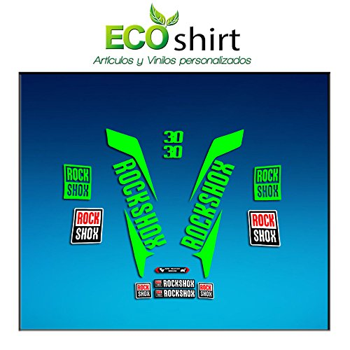 Ecoshirt R5-OGA3-5RQY Pegatinas Stickers Fork Rock Shox 30 2017 Am145 Aufkleber Decals Autocollants Adesivi Forcela, Verde Fluor 069