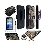 Kyocera Hydro Reach C6743 Hydro View C6742 ITUFFY (TM) 3items Combo: Screen Protector + Stylus Pen + Holster Combo Case + Soft Rubber Skin Built-in Kickstand Impact Armor (Tree Deer Black)