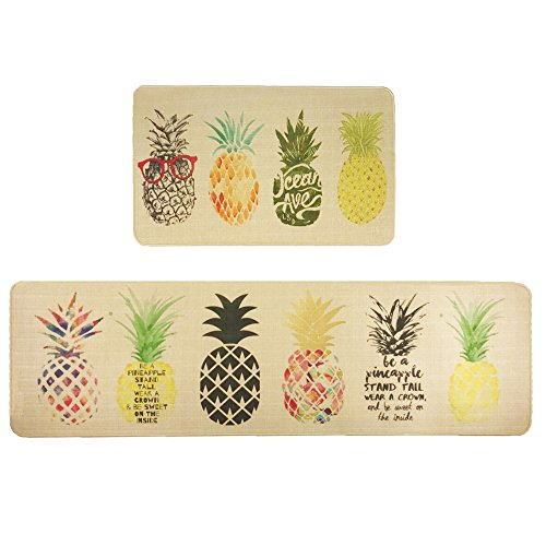 Wolala Home Natural Rubber 2 Pieces Sets Non-Slip Washable Kitchen Rug and Mat Fruit Pineapple Comfortable Durable Laundry Room Area Rugs Bedside Rug Runner Doormat (18''x29''+18''x59'', Pineapple)
