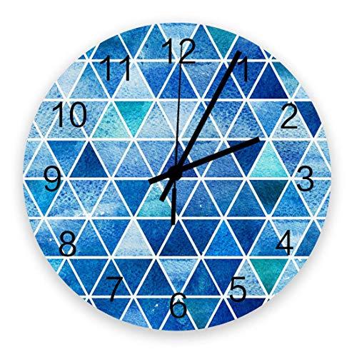 Reloj de Pared Redondo de Madera, patrón geométrico Triángulo Degradado Patrón de azulejo Azul Cuarzo sin tictac Funciona con Pilas Relojes Decorativos de Pared para Cocina, Sala de Estar, Oficina