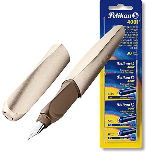 Pelikan 801218 Twist Füllhalter Bronze + Pelikan 330845 Patronen 5er Packung, Blau (30 Patronen)