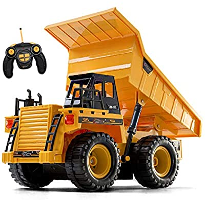 Top Race Remote Control Construction Dump Truck Toy, RC Dump Truck Toys, Construction Toys Vehicle, RC Truck Toys for 8,9,10,11,12 Year Old Boys and up, Toy Trucks 1:18 Scale, TR-112 from Top Race