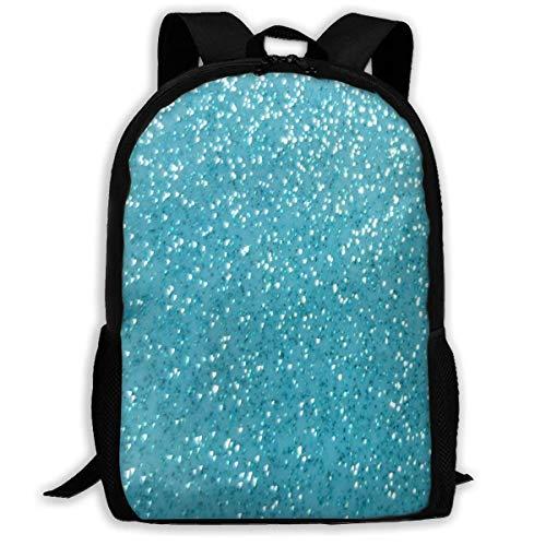 DJNGN School Unisex Backpack Bags Rucksack Backpack Light Blue Glitter Zipper School Bookbag Daypack Travel Rucksack Gym Bag for Man Women