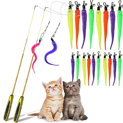 L&QQ Cat Wand Toy Set - Retractable Cat Wand with Cat Toys for Indoor Cats, Interact Cat Wand Toys for Cats Dancer, 20 Pcs Replacement Teaser Pack, Funny Interactive Kitten Exerciser Toys (20 PCS)