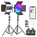 Neewer Luz de VÍdeo LED RGB con Control de Aplicación 360°a Todo Color Kit de Iluminación de Vídeo 50W 660 PRO CRI 97+ para Juegos Streaming Zoom Youtube Webex Broadcasting Web Conference Fotografía