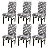 TMILIATRAY Stuhlhussen 6er Set Universal Stretch,Abnehmbare Stuhlbezug für das Esszimmer Moderne Elastische Stuhlschutzdekoration für Büro Bankette Hochzeitsfest(6 Stück,Gitter )